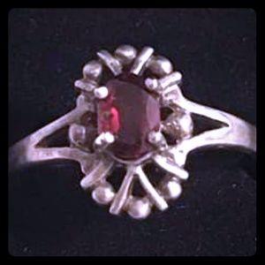 Vintage Sterling Silver Red Garnet